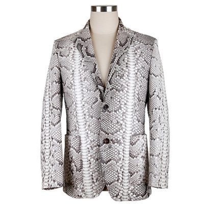 Casual Snakeskin Jacket, Genuine Python Skin Jacket for Men