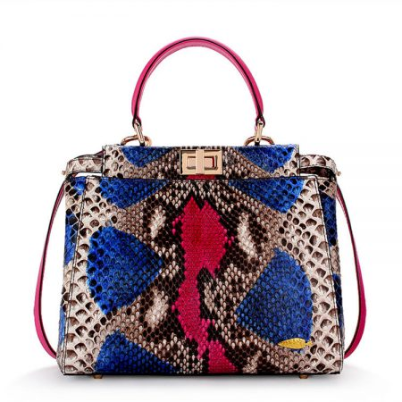 Designer Snakeskin Top Handle Handbag, Snakeskin Crossbody Bag