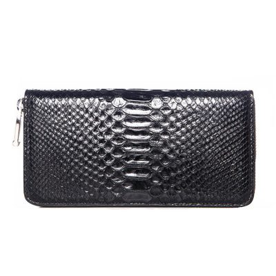 Genuine Snakeskin Wallet, Zipper Snakeskin Clutch Wallet Card Holder Purse