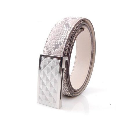 Luxury Snakeskin Belt, Genuine Python Leather Belt for Men