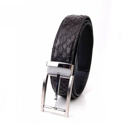 Men's Black Classic Dress Snakeskin Belt, Python Belt