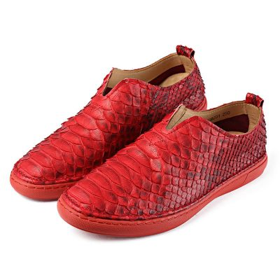 Red Casual Snakeskin Shoes, Python Shoes for Men
