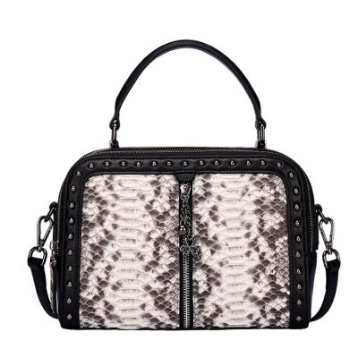 Snakeskin Handbag, Python Top-Handle Purse, Crossbody Bag