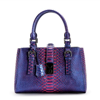 Snakeskin Satchel Handbag, Top-Handle Handbag