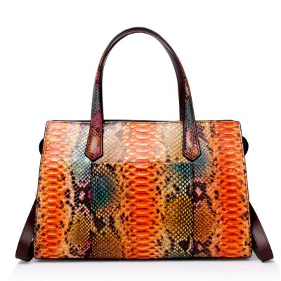 Snakeskin Top Handle Handbag, Tote Satchel Shoulder Bag