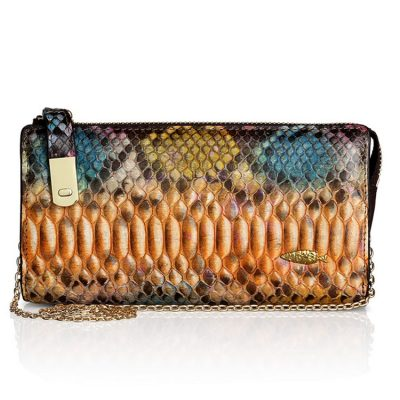 Womens Evening Snakeskin Clutch Purse, Python Skin Cross Body Bag