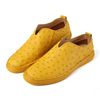 Yellow Casual Ostrich Shoes, Genuine Ostrich Skin Shoes for Men