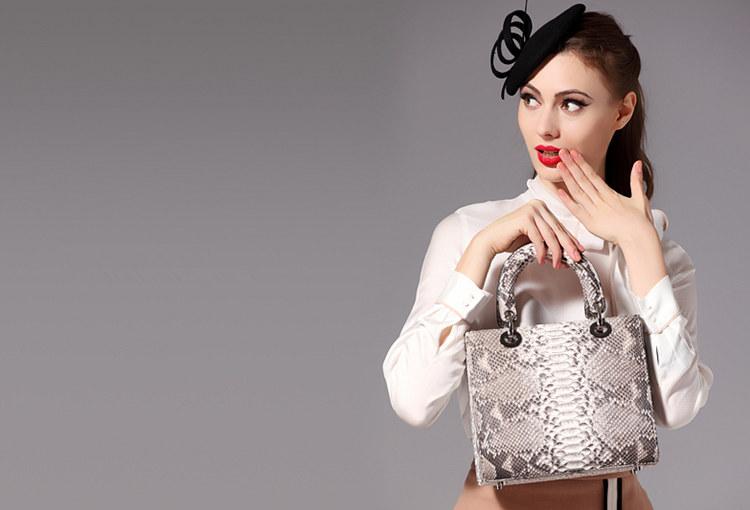 BRUCEGAO Snakeskin Handbags for Women