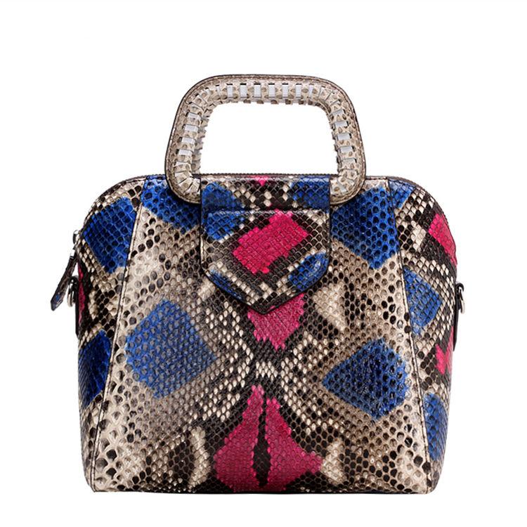 Classic Snakeskin Top-Handle Handbag, Snakeskin Evening Bag-Back