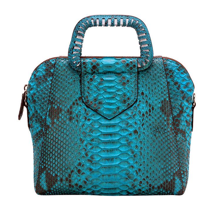 Classic Snakeskin Top-Handle Handbag, Snakeskin Evening Bag-Blue