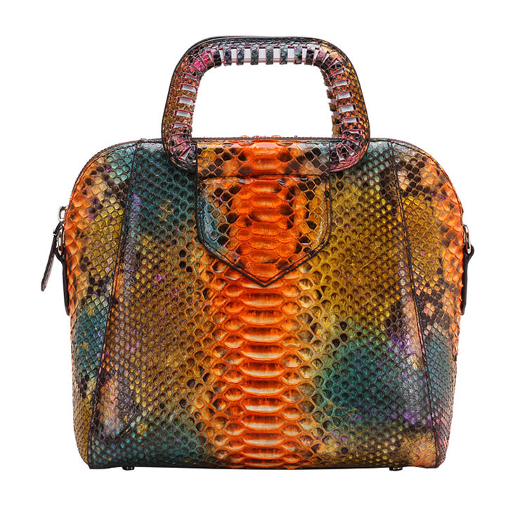Classic Snakeskin Top-Handle Handbag, Snakeskin Evening Bag-Fantasy Viyola