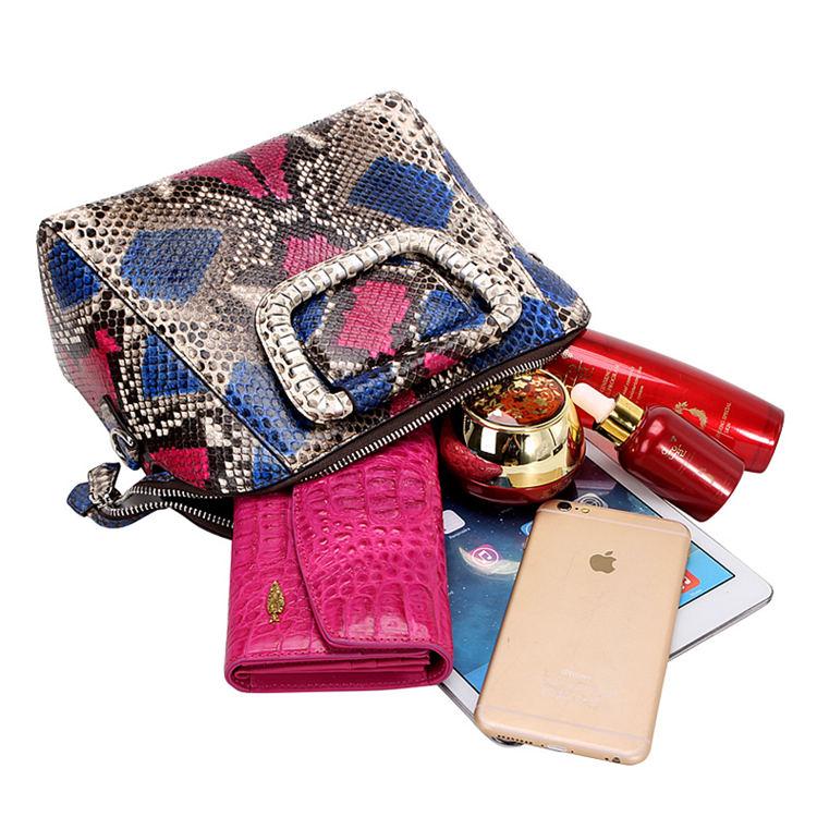 Classic Snakeskin Top-Handle Handbag, Snakeskin Evening Bag-Inside