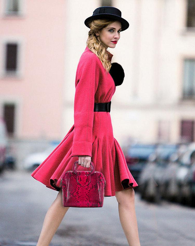 Classic Snakeskin Top-Handle Handbag, Snakeskin Evening Bag-Red-1