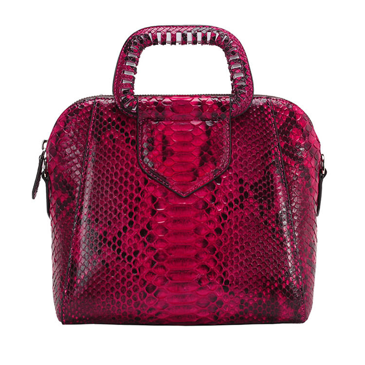 Classic Snakeskin Top-Handle Handbag, Snakeskin Evening Bag-Red