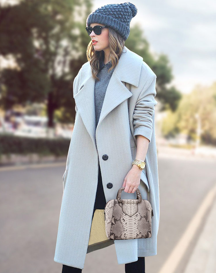 Classic Snakeskin Top-Handle Handbag, Snakeskin Evening Bag-White-1
