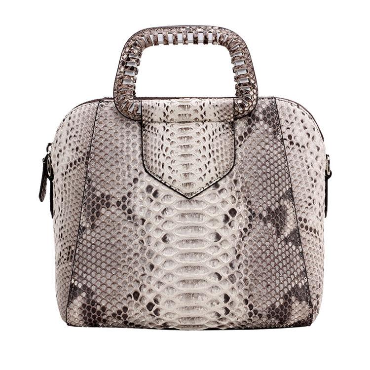 Classic Snakeskin Top-Handle Handbag, Snakeskin Evening Bag-White