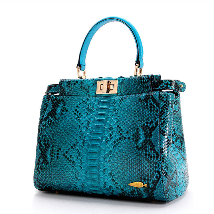 Designer Snakeskin Top Handle Handbag, Snakeskin Crossbody Bag-Blue