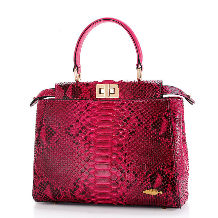 Designer Snakeskin Top Handle Handbag, Snakeskin Crossbody Bag-Red
