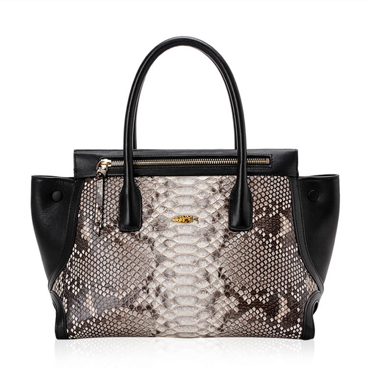 Fashion Snakeskin Handbag, Tote Shoulder Bag-White