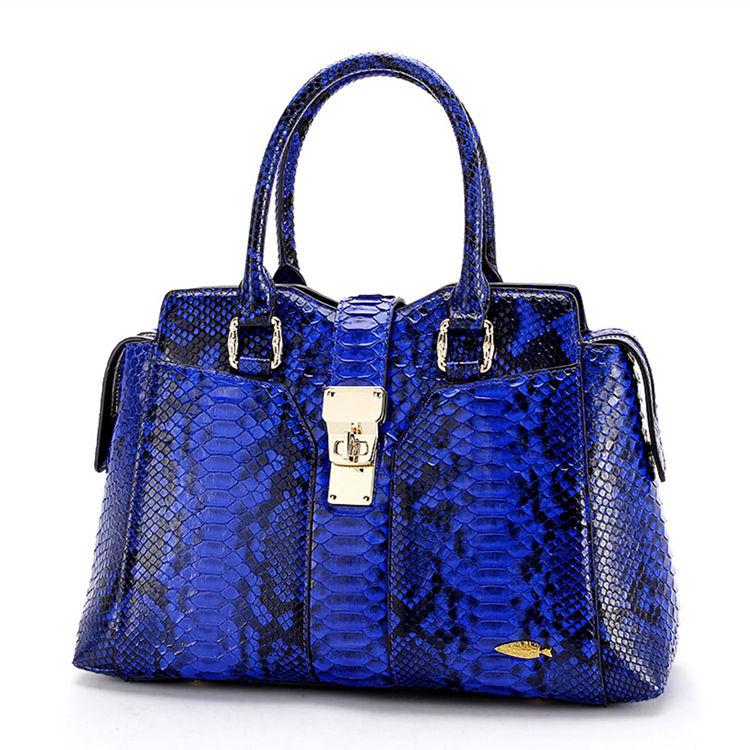 Genuine Python skin Handbag, Ladies Python skin Handbag-Blue
