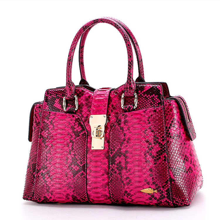 Genuine Python skin Handbag, Ladies Python skin Handbag-Red