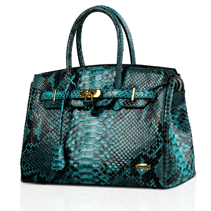 Luxury Genuine Snakeskin Handbag for Women-Side
