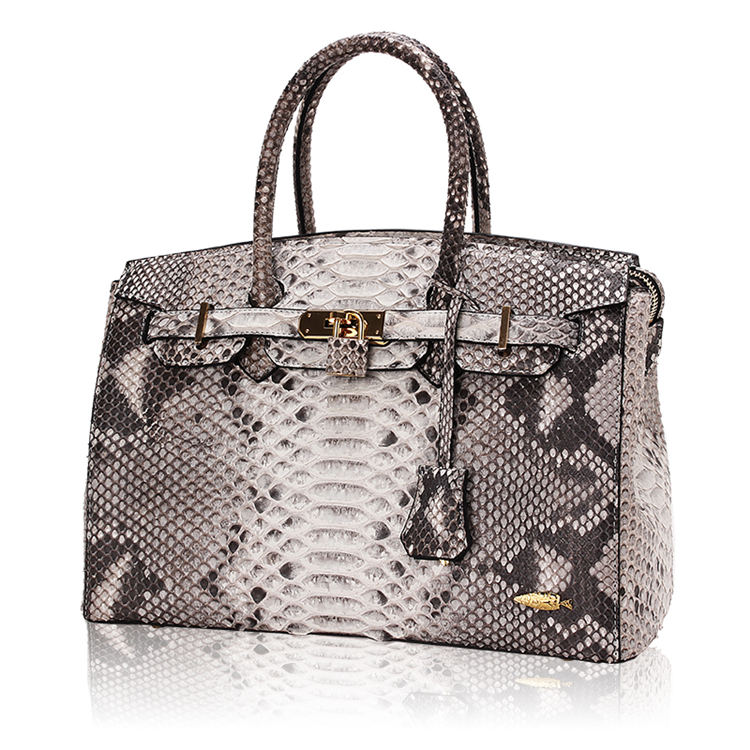 Luxury Genuine Snakeskin Handbag for Women-White