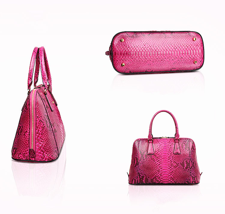 Women Fashion Snakeskin Top Handle Handbag-1