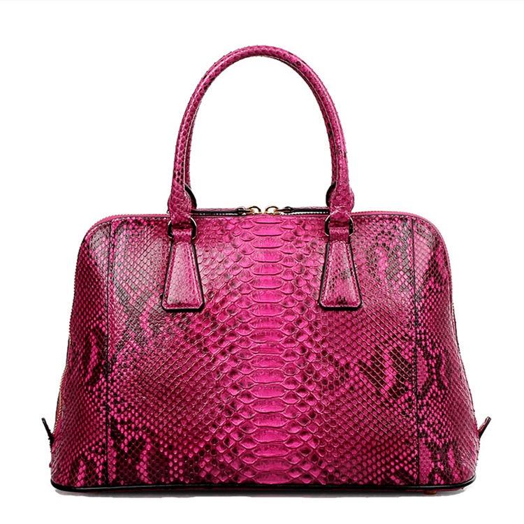 Women Fashion Snakeskin Top Handle Handbag-Back