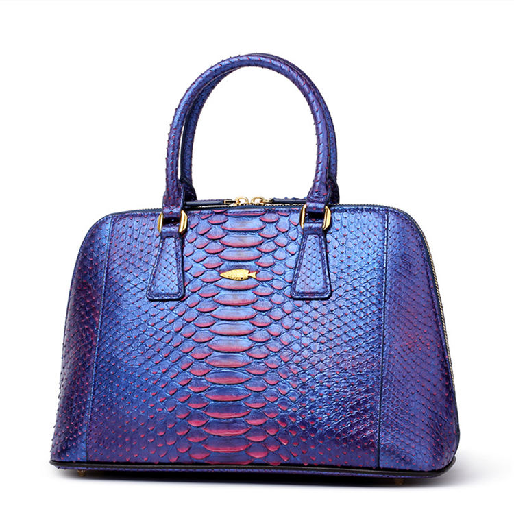Women Fashion Snakeskin Top Handle Handbag-Blue
