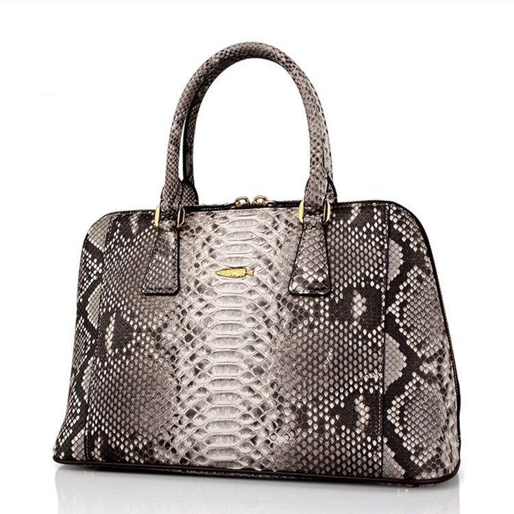 Women Fashion Snakeskin Top Handle Handbag-White