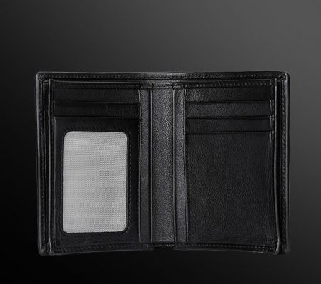 Black Snakeskin Bifold Wallet, Python Wallet-Inside