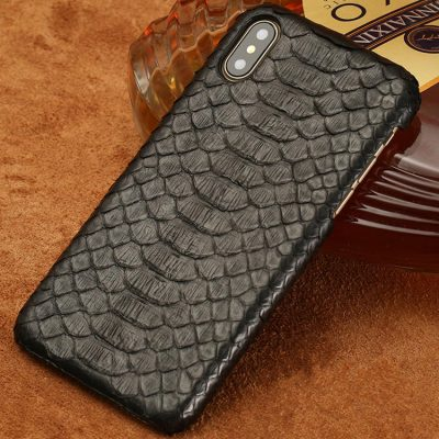 Snakeskin iPhone x Case, Python Skin Snap-on Case for iPhone X-Black
