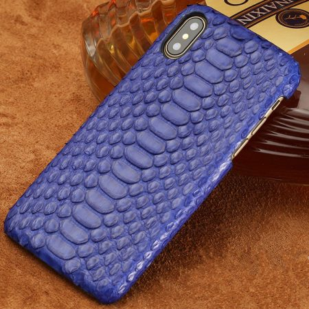 Snakeskin iPhone x Case, Python Skin Snap-on Case for iPhone X-Blue