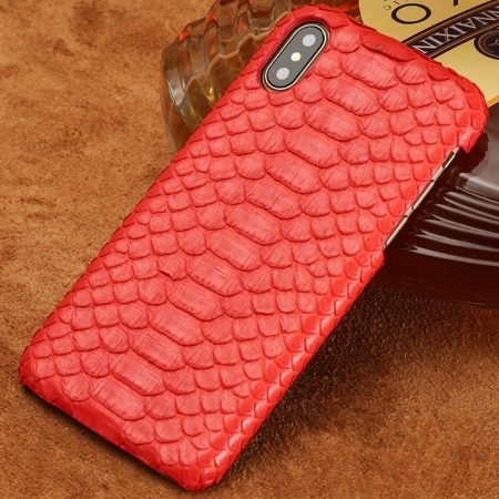 Snakeskin iPhone x Case, Python Skin Snap-on Case for iPhone X-Red