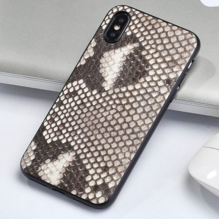 Snakeskin iPhone x Case, Python Skin iPhone X Case with Full Soft TPU Edge-White