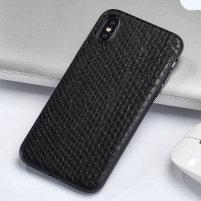 Snakeskin iPhone x Case, Python Skin iPhone X Case with Full Soft TPU Edges-Black