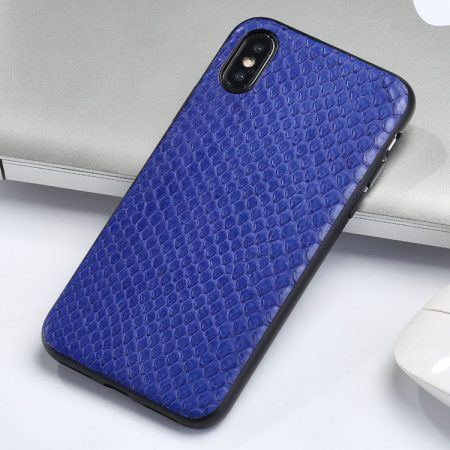 Snakeskin iPhone x Case, Python Skin iPhone X Case with Full Soft TPU Edges-Blue