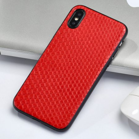 Snakeskin iPhone x Case, Python Skin iPhone X Case with Full Soft TPU Edges-Red